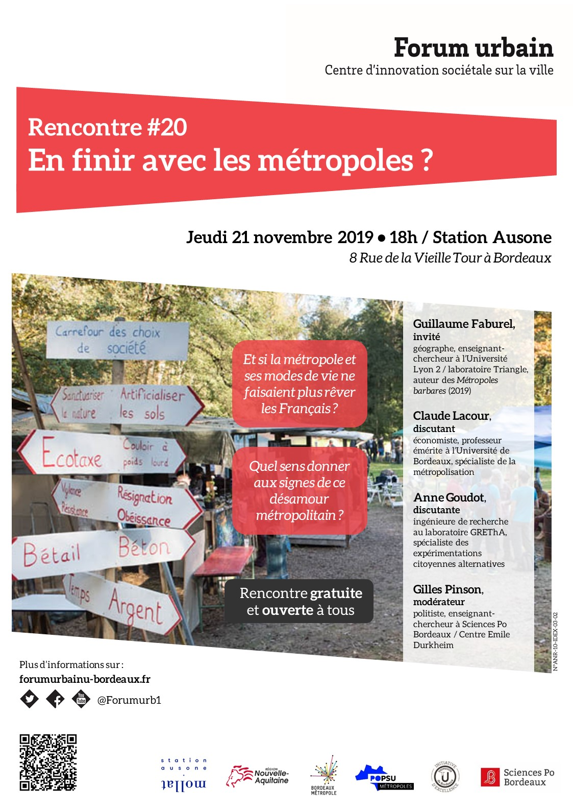 RENCONTRE #20 DU FORUM URBAIN : En finir avec les métropoles | 21/11/2019